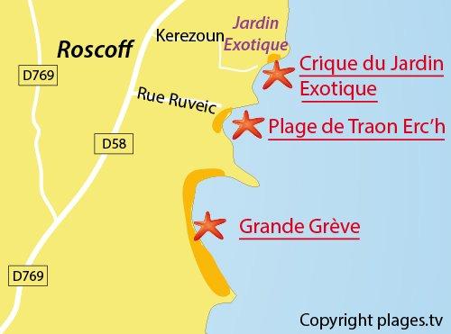 Carte de la crique du Jardin Exotique de Roscoff