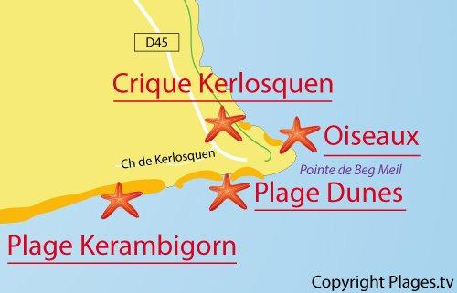 Carte de la crique de Kerlosquen à Fouesnant