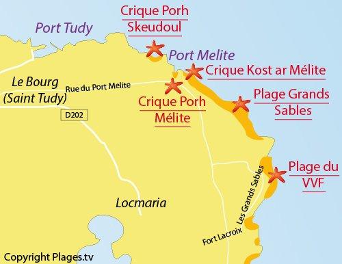 Map of Kost ar Mélite Cove - Ile de Groix