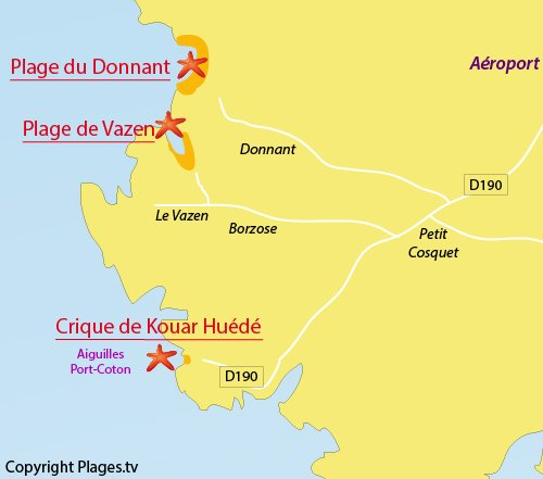 Map of Kouar Huede Cove in Belle Ile - Brittany