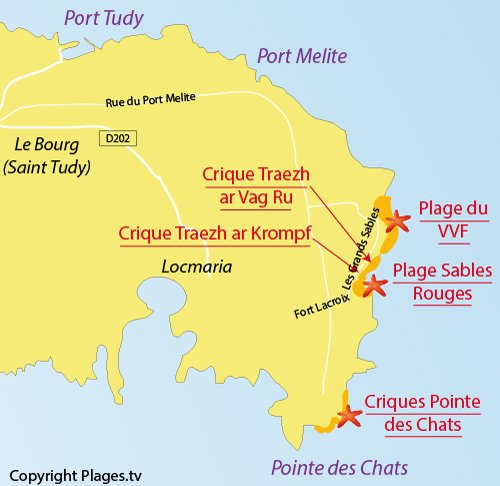 Map of Traezh ar Krompf Coves - Island of Groix