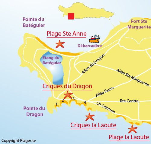 Map of Laoute Cove in Lérins island (Sainte-Marguerite)