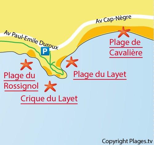 Carte de la Crique du Layet au Lavandou