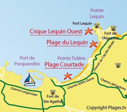 Mappa Cricca del Lequin Ouest a Porquerolles