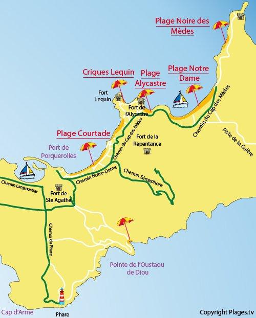 Mappa della Cricche di Lequin a Porquerolles