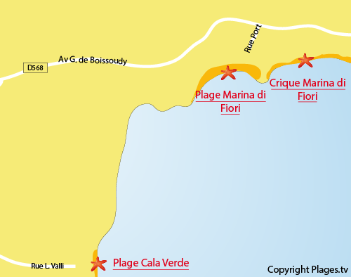 Map of the Marina di Fiori creek in Porto-Vecchio