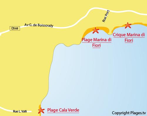 Carte de la crique de la Marina di Fiori à Porto-Vecchio