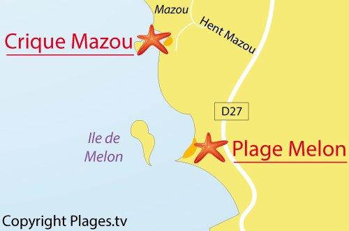 Carte de la crique de Mazou à Porspoder