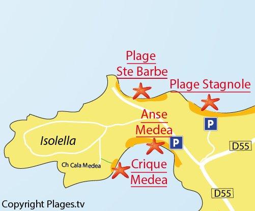 Carte de la crique de Medea à Isolella