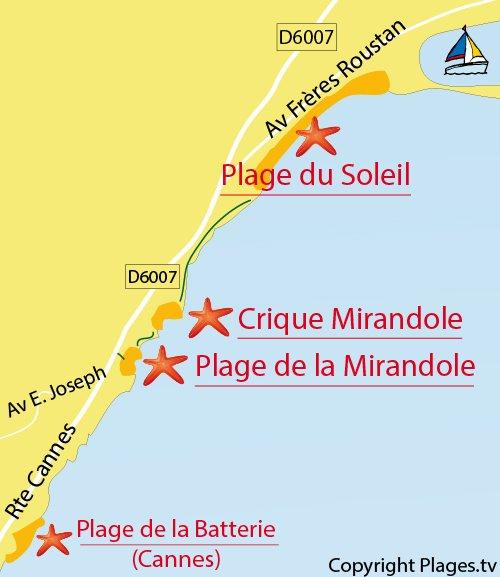 Carte de la crique de la Mirandole à Vallauris Golfe Juan