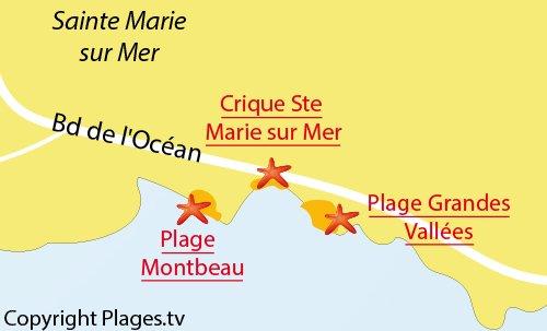Carte de la plage de Montbeau à Ste Marie sur Mer
