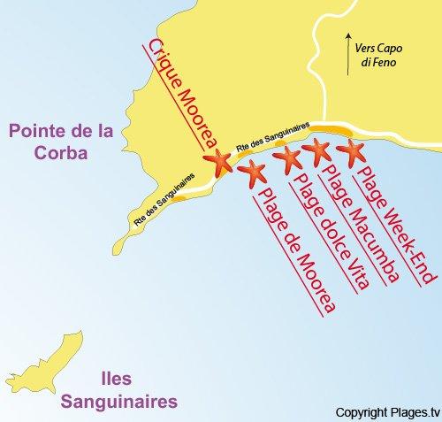 Plan de la crique de Moorea à Ajaccio
