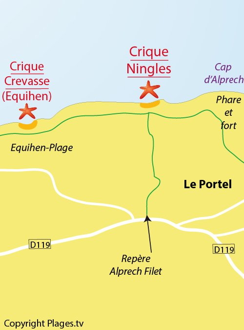 Carte de la crique des Ningles au Portel