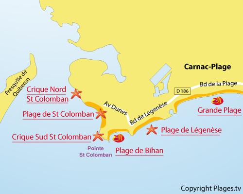 Carte des criques nord de Colomban à Carnac