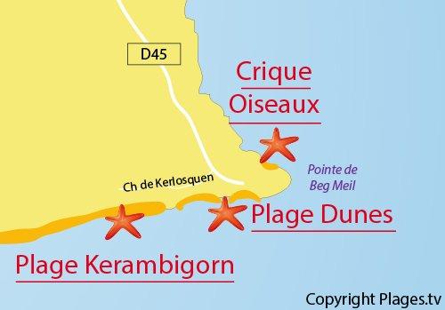 Carte de la crique aux Oiseaux à Fouesnant