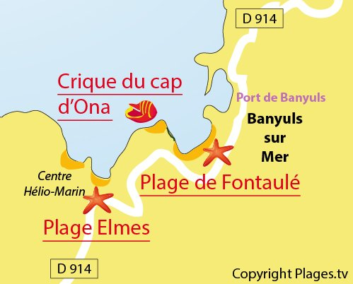Map of Cap Ona Cove in Banyuls sur Mer