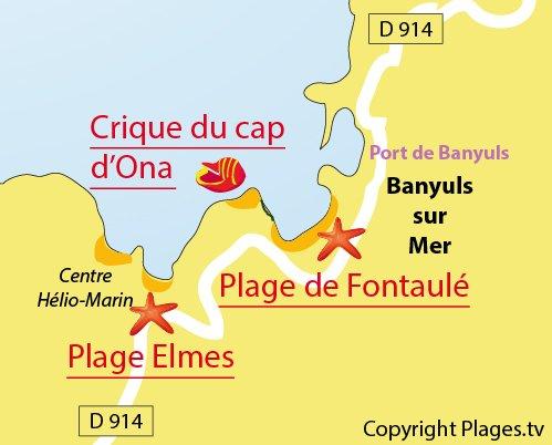 Plan des criques du Cap d'Ona à Banyuls dans le 66