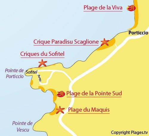 Carte de la crique de Paradisu à Porticcio