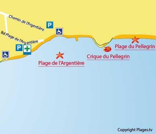 Map of Pellegrin Cove in La Londe les Maures