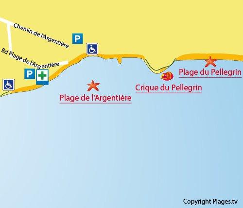 Carte de la crique du Pellegrin à La Londe dans le Var