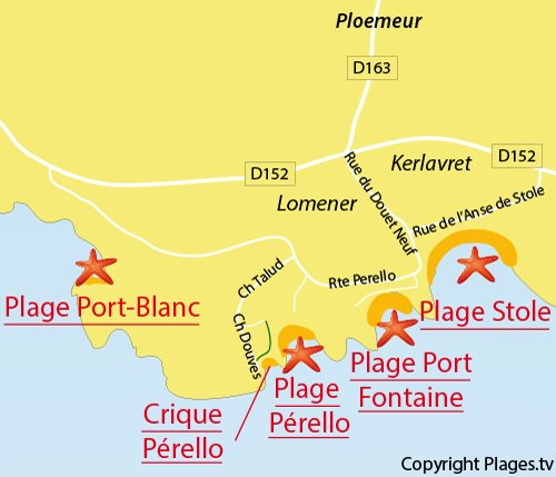 Map of Pérello Cove in Plouemeur