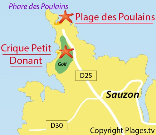 Map of Petit Donant Cove in Belle Ile
