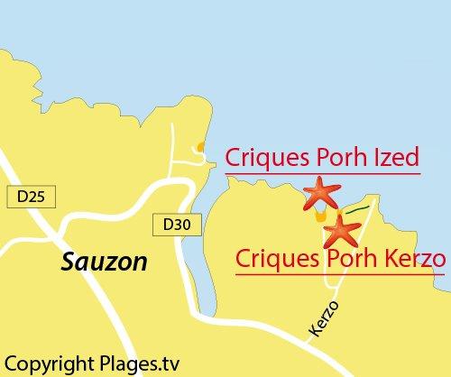Carte de la plage de Porh Kerzo à Belle Ile en Mer