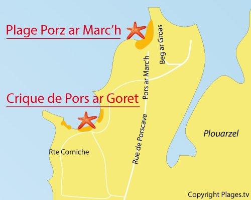 Carte de la crique de Pors ar Goret à Lampaul Plouarzel