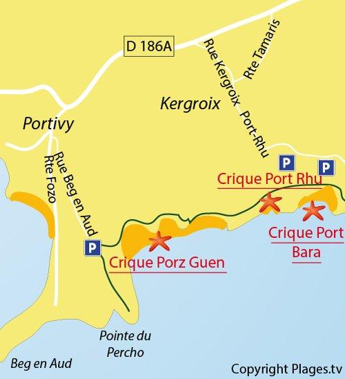 Carte de la crique de Port Bara à St Pierre Quiberon