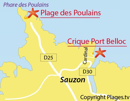 Carte de la plage de Port Belloc à Sauzon
