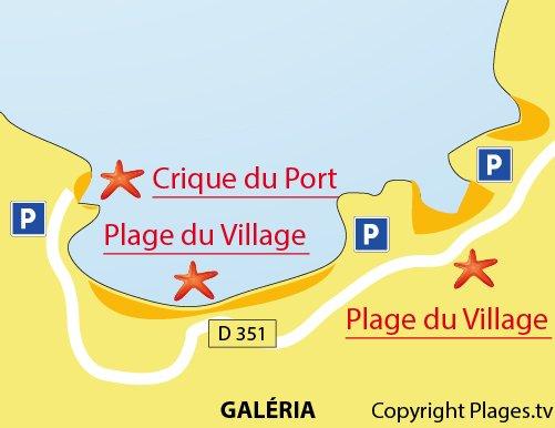 Carte de la crique à côté du port de Galéria - Corse