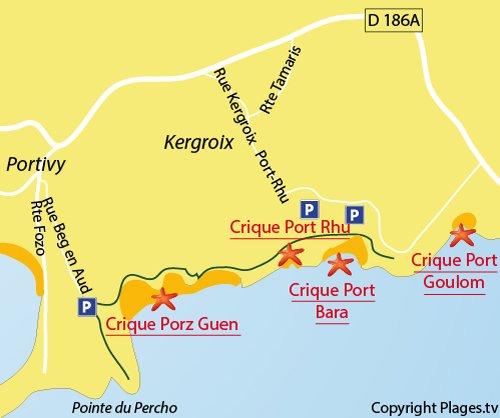 Carte de la plage de Port Goulom à St Pierre Quiberon