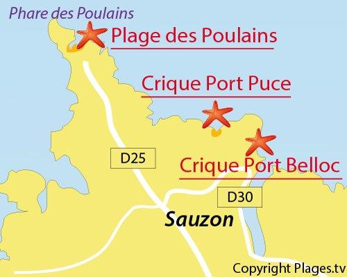 Carte de la crique de Port Puce à Belle Ile en Mer