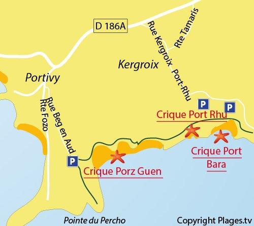 Carte de la crique de Port Rhu à Quiberon