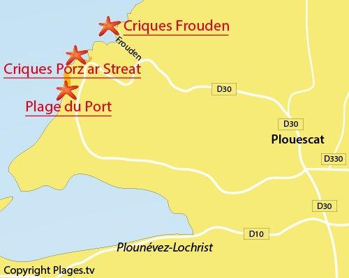 Carte de la crique de Porz ar Streat à Plouescat