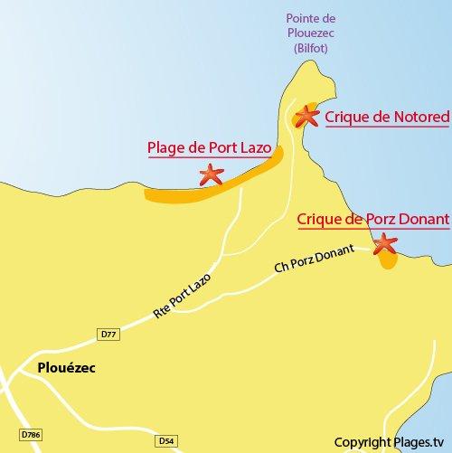 Plan de la crique de Porz Donant à Plouézec