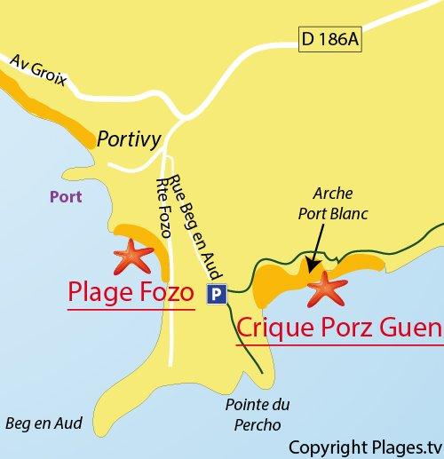 Carte de la crique de Porz Guen à St Pierre Quiberon