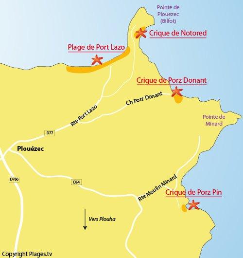 Carte de la crique de Porz Pin à Plouézec