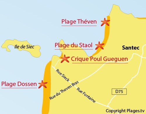Map of Poul Gueguen Cove in Santec