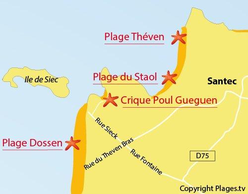 Map of Poul Gueguen Cove in Santec