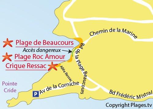 Plan de la crique de Ressac à Sanary sur Mer