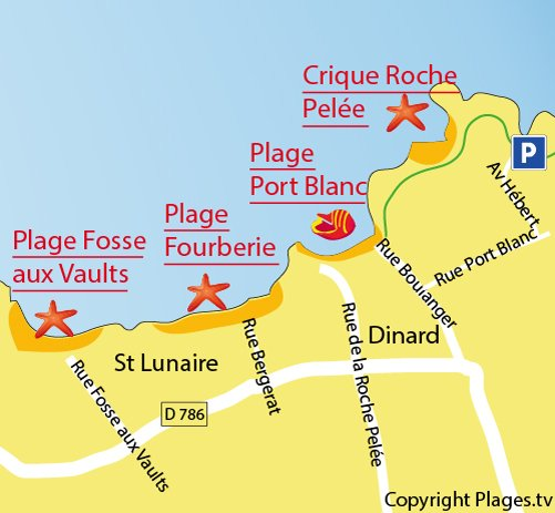 Map of the creek of Roche Pelee in Dinard