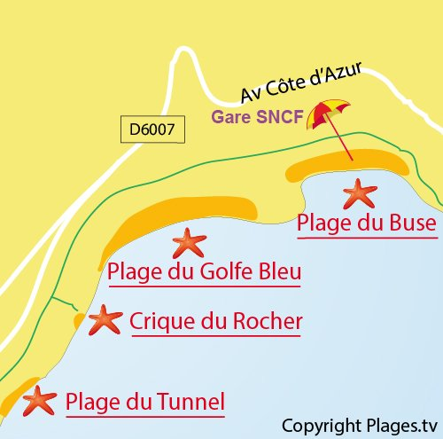 Carte de la crique du Rocher à Roquebrune Cap Martin