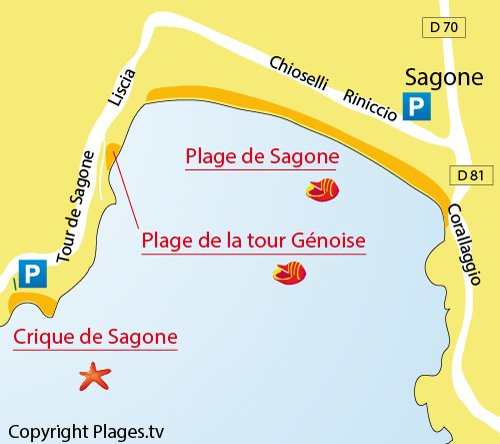 Carte de la Crique de Sagone en Corse