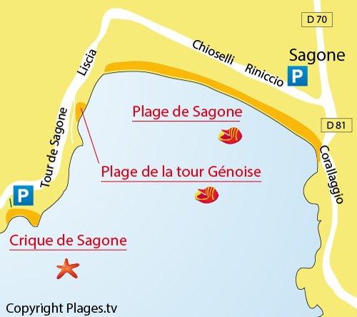 Map of Sagone creek in Corsica