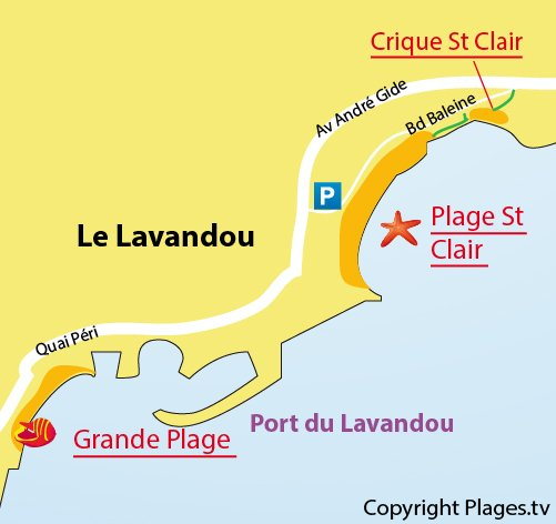 Map of the St Clair Creek in Lavandou