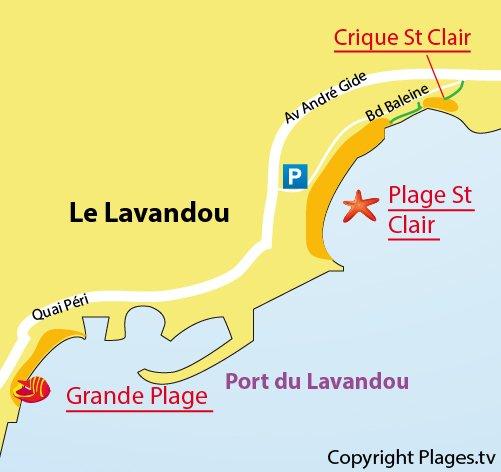 Carte d'accès à la crique St Clair au Lavandou