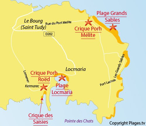 Map of Saisies Cove - island of Groix