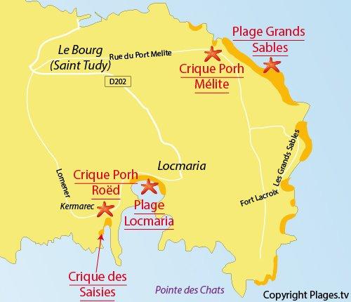 Carte de la crique des Saisies sur l'ile de Groix