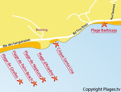 Carte de la crique de Santa Lina à Ajaccio